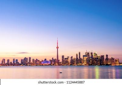 Beautiful Toronto skyline at night, Ontario, Canada