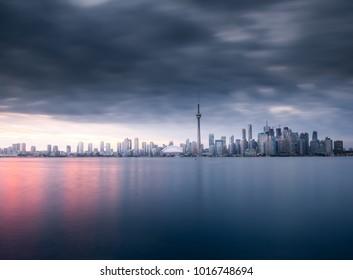 Beautiful Toronto skyline at sunset, Ontario, Canada