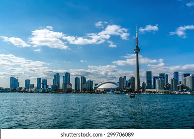 The beautiful Toronto's skyline over Lake Ontario. Urban architecture.