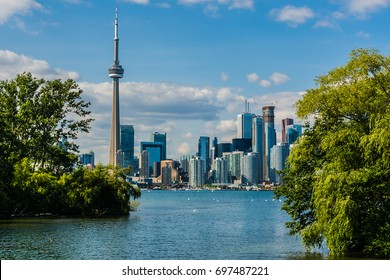 Beautiful Toronto's skyline over lake. Toronto, Ontario, Canada.