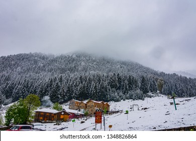Beautiful touristic village Ayder covered by snow, Rize, Turkey, 21.April 2018