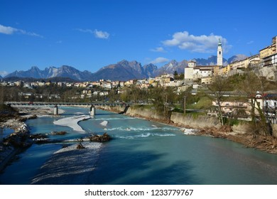a beautiful town of Belluno, a sunny day