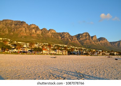 The beautiful town of Camps Bay at sunset, South Africa
