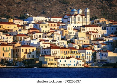 The beautiful town of Chora just before sunset, in Andros island, Cyclades, Greece