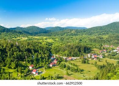 Beautiful town of Lokve in Gorski kotar, Croatia, in panoramic view