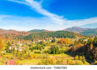 Beautiful town of Lokve in Gorski kotar, Croatia, in autumn, panoramic view