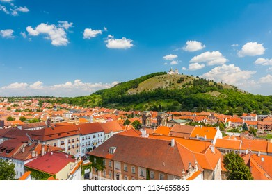 Beautiful town of Mikulov with a castle and Holy Hill. South Moravia, Czech Republic.