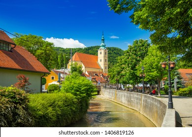 Beautiful town of Samobor, Croatia, catholic church and river in the center of city, beautiful spring day