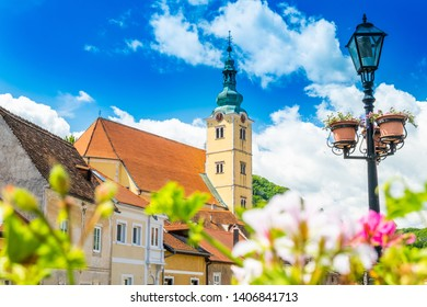 Beautiful town of Samobor, Croatia, church tower and lantern in the center of city, beautiful spring day, city skyline