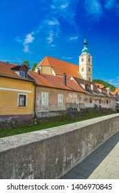 Beautiful town of Samobor, Croatia, church tower and old housed in the center of city, beautiful spring day, city skyline