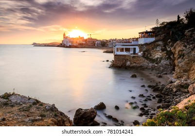 Beautiful town of Sitges at sunset, Catalonia, Spain
