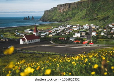 Beautiful town of Vik i Myrdal in Iceland in summer. The village of Vik  is the southernmost village in Iceland on the ring road around 180 km southeast of Reykjavík.