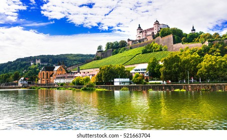 Beautiful towns of Germany - Wurzburg, view with vineyrds and castle