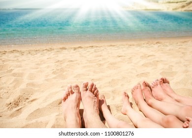 Beautiful traces with feet on sea nature background