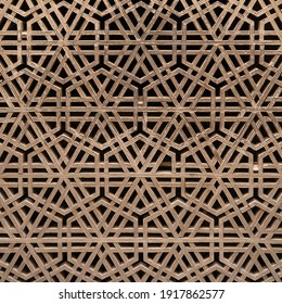 Beautiful traditional ancient wooden geometric latticework at shrine of Jalaluddin Surkh Posh Bukhari in Uch Sharif, Bahawalpur, Punjab, Pakistan