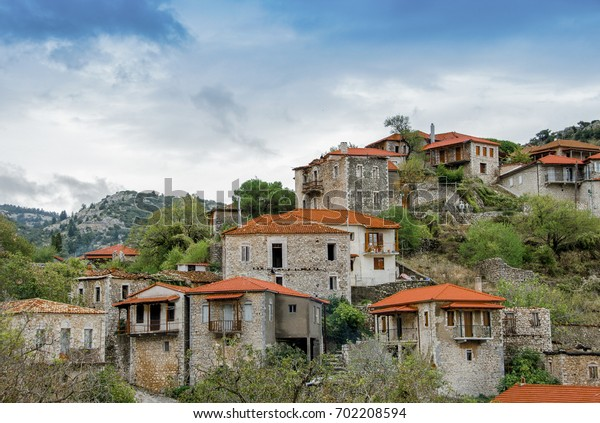 Beautiful traditional architecture on mountain of Mainalo.Stemnitsa village in Greece.