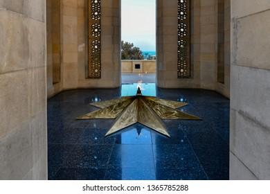 Beautiful traditional architecture of Shahidlar Monument in Sehidler Xiyabani, Baku, Azerbaijan,