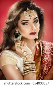Beautiful traditional bride with heavy jewellery and ethnic jewellery