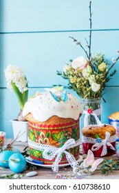 Beautiful traditional Easter bread cake kulich