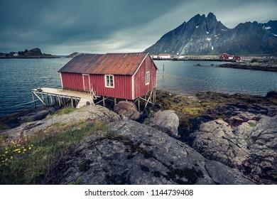 Beautiful traditional house in Lofoten Island, Norway