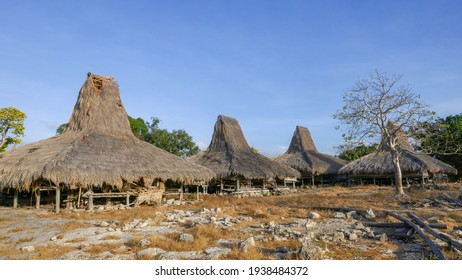 Beautiful traditional houses on stilts with thatched roofs in Prai Ijing village, Sumba island, East Nusa Tenggara, Indonesia
