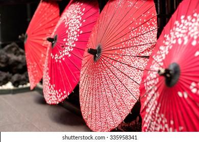 Beautiful traditional japanese bamboo umbrella in Kyoto