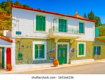 Beautiful traditional old house in Poros island in Greece