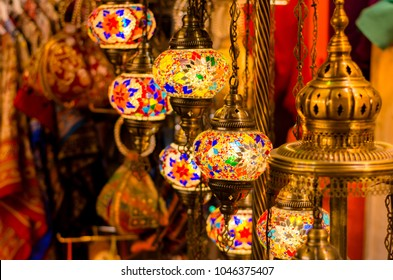 Beautiful Traditional Ramadan Light Lamp with blur background - Shot from Dubai Spice Souk, famous tourkish light, place to visit in dubai-UAE