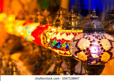Beautiful Traditional Ramadan Light Lamp with blur background - Shot from Dubai Spice Souk
