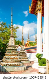 Beautiful traditional temple architecture reclining stupa in Bangkok