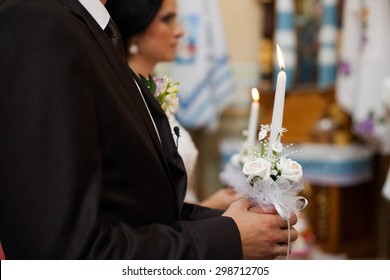 beautiful traditional wedding ceremony of happy brunette bride and groom, Lviv