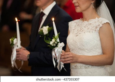 beautiful traditional wedding ceremony of stylish couple, Lviv, Ukraine