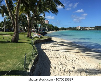 Beautiful tranquil and idyllic, turquoise seashore for relax in Guam island, Polynesia. Guam beach view of crystal clear turquoise sea water. Summer vocation on tropical paradise beach Guam, Polynesia