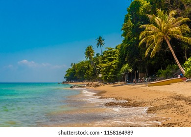 The beautiful tranquil Petani Beach with its golden sand, turquoise water and palm trees at the popular holiday destination Perhentian Kecil Island in Malaysia.