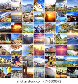 Beautiful travel background can be used for magazines, leaflets, advertising, covers. Collection images used as a background with several destinations from all over the world