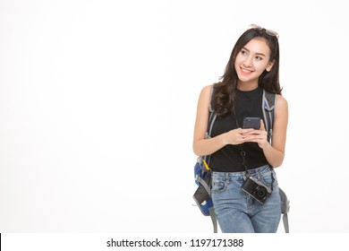 Beautiful travel girl using smart phone isolated on white background