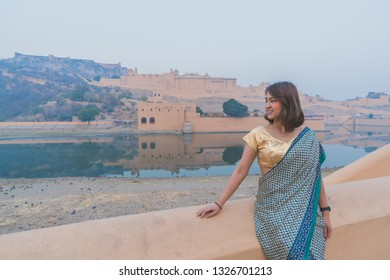 Beautiful Traveller wear Indian Dress to Amber Palace, Jaipur, Rajasthan - India