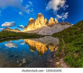 beautiful Tre Cime peaks from Tre Cime di Lavaredo Loop trail at sunset , South Tyrol, Italy