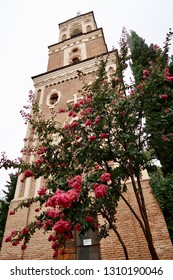A beautiful tree with pink flowers and green leaves in front of a high monastery building made of brick at Bodbe Monastery in Kakheti, Georgia