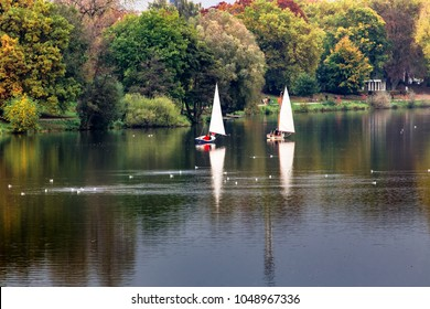 A beautiful  trees and lake in autumn season at The Munster Park, Germany.
