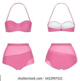 Beautiful trendy bright bikini, pink swimsuit, ghost mannequin, clipping, isolated on white, front and back view