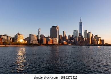 Beautiful Tribeca and Lower Manhattan New York City Skyline along the Hudson River during a Sunset