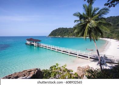 Beautiful tropic beach with white sand and crystal clear waters. Perhentian islands (Pulau Perhentian Besar), Terengganu, Malaysia
