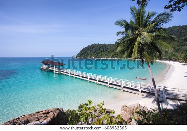 Beautiful tropic beach with white sand and crystal clear waters. Perhentian islands (Pulau Perhentian Besar), Terengganu, Malaysia