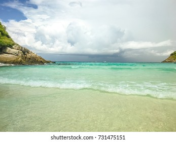 Beautiful tropical beach and andaman sea in Phuket Thailand.