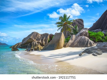 beautiful tropical beach at anse source d'argent on la digue on the seychelles