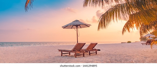 Beautiful tropical beach banner. White sand and coco palms travel tourism wide panorama background concept. Amazing beach landscape. Chairs on the sandy beach near the sea. Summer vacation concept