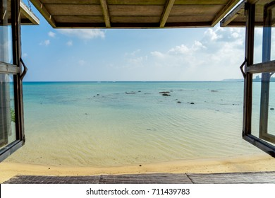 Beautiful tropical beach, blue sea view from the window