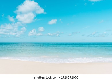 Beautiful tropical beach with blue sky and white clouds abstract texture background. Copy space of summer vacation and holiday business travel concept. Vintage tone filter effect color style.