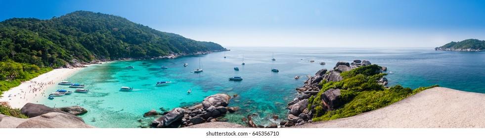 Beautiful tropical beach and blue sky background. Panorama Beautiful Seascape or Landscape at similan island, andaman sea, pacific ocean. Similan Island,beautiful tropical island, Thailand